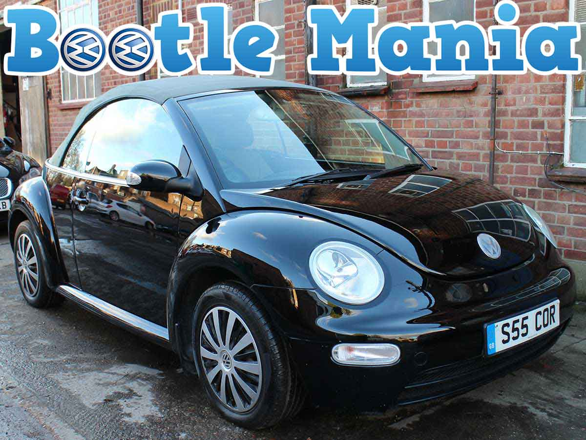 2005 Volkswagen Beetle 1.6 Convertible SE in Black Grey Leather Years MOT 81k Full Service S55COR