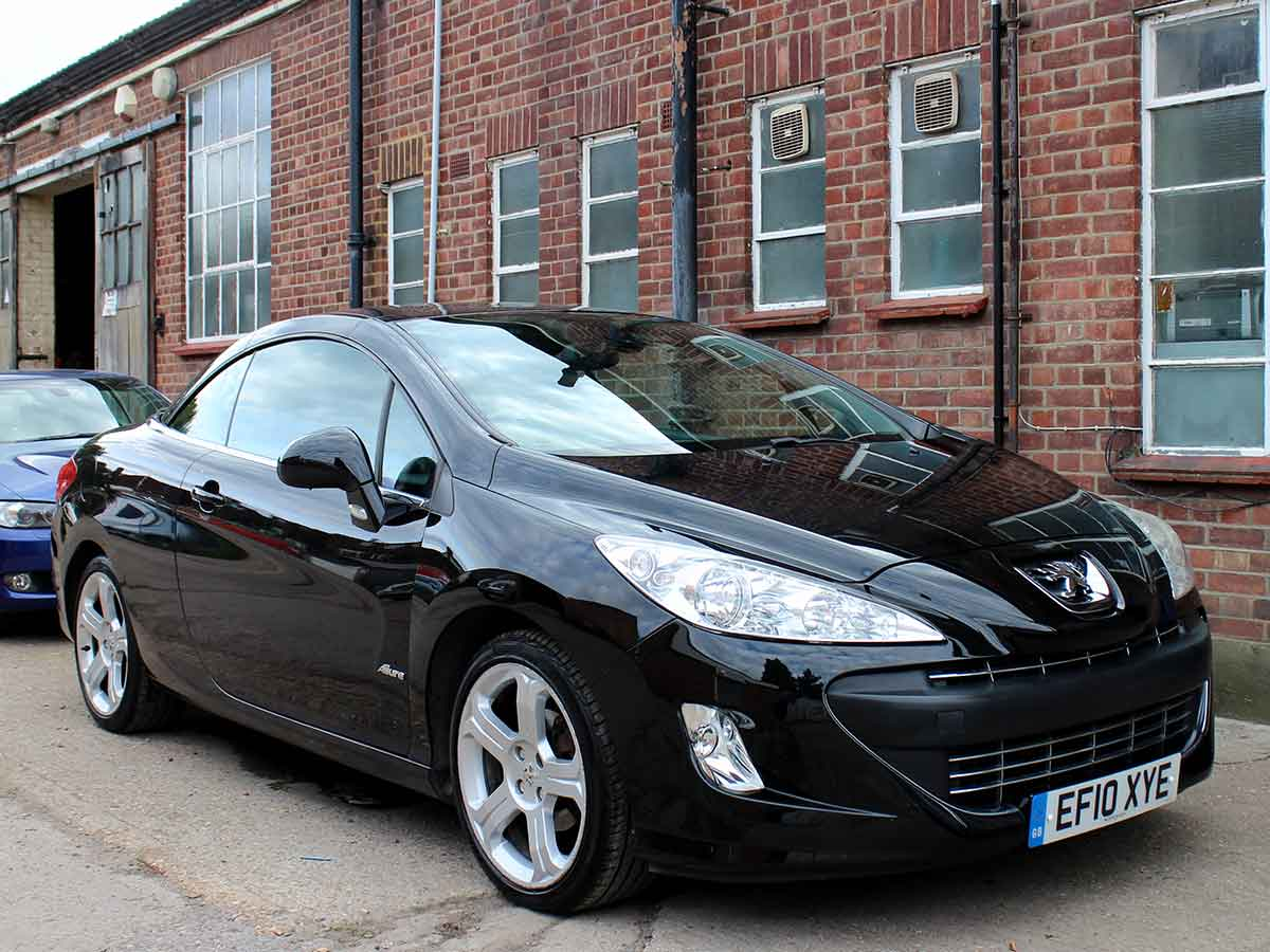 2010 Peugeot 308 CC Convertible 1.6 VTi Allure Black Full Leather Alloys Parking Sensors 1 Previous Owner 44,000 Miles FSH EF10XYE