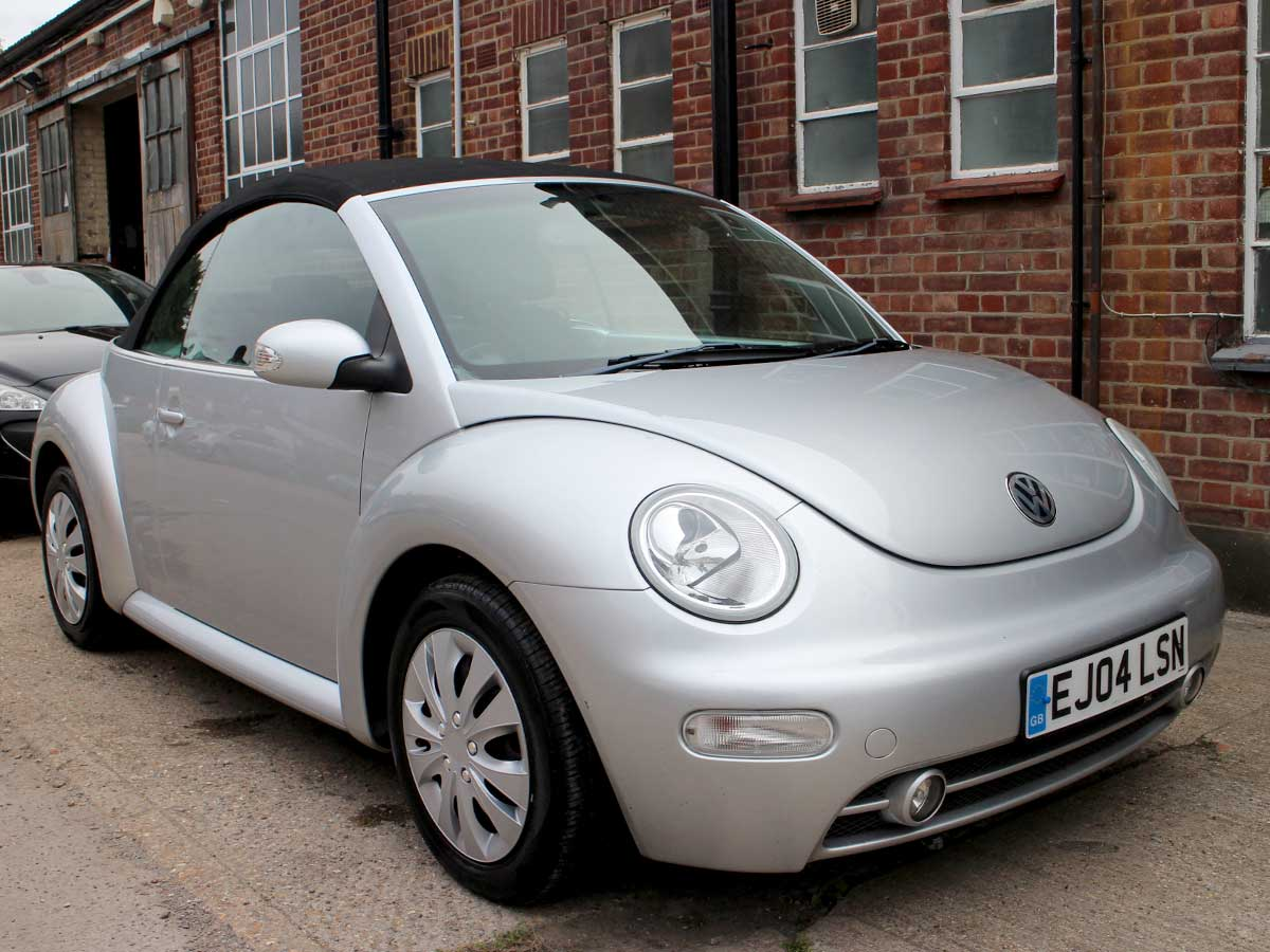 2004 VW Beetle 1.6 Convertible Silver with Black Power Hood Heated Seats Excellent Condition 90,000 miles Full Service History EJ04LSN
