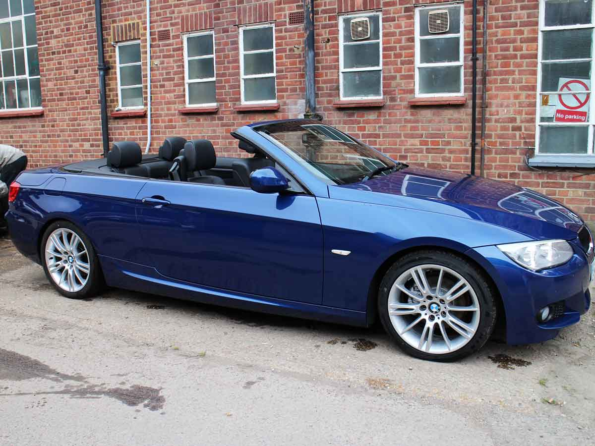 2012 BMW 320 M Sport Convertible Automatic Le Mans Blue with Black Leather Alloys 48,000 miles GK59GEF