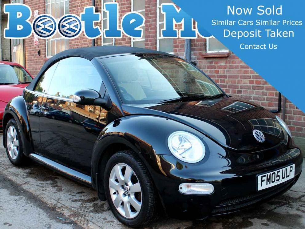 2005 VW Beetle Convertible 2.0 Black Auto with Black Hood Ivory Leather AC Alloys 52,000 miles FSH FM05ULP