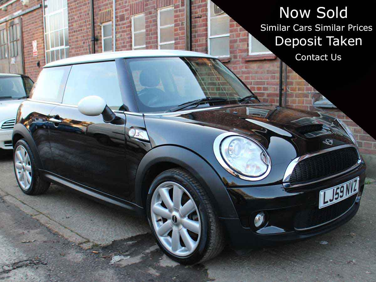 2009 Mini 1.6 Cooper S 3dr Petrol Manual Black with Black Leather AC 2 owner 79,000 miles LJ59NVZ