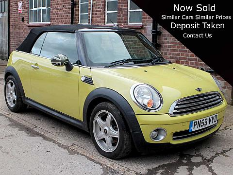 2009 Mini Cooper Convertible Yellow with Black Hood Half Black Leather 16 inch Alloys Good Spec 28,000 miles PN59VYD