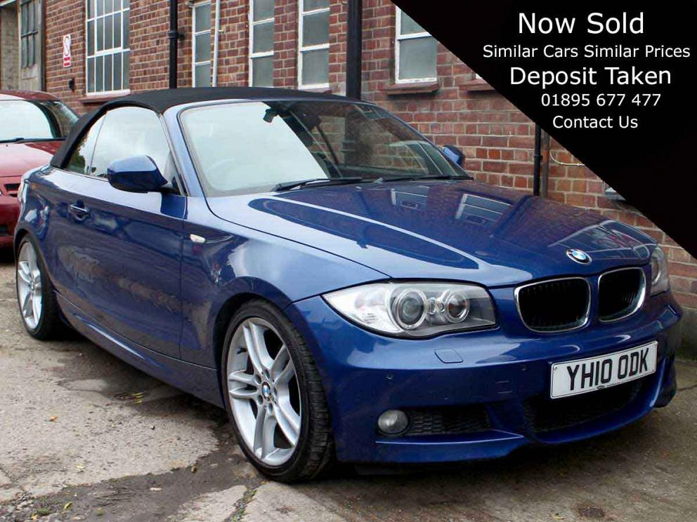 2010 BMW 120i M Sport Convertible Automatic Air Con Le Mans Blue with Black Hood Full Ivory Leather Heated Seats 70,000 Miles SH YH10ODK