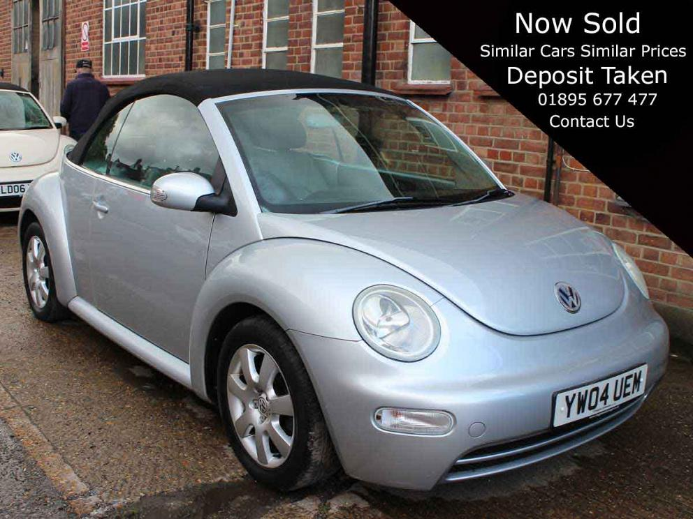 2004 VW Beetle 2.0 Automatic Convertible Reflex Silver Black Hood Alloys AC Leather Interior 62,000 miles YW04UEM