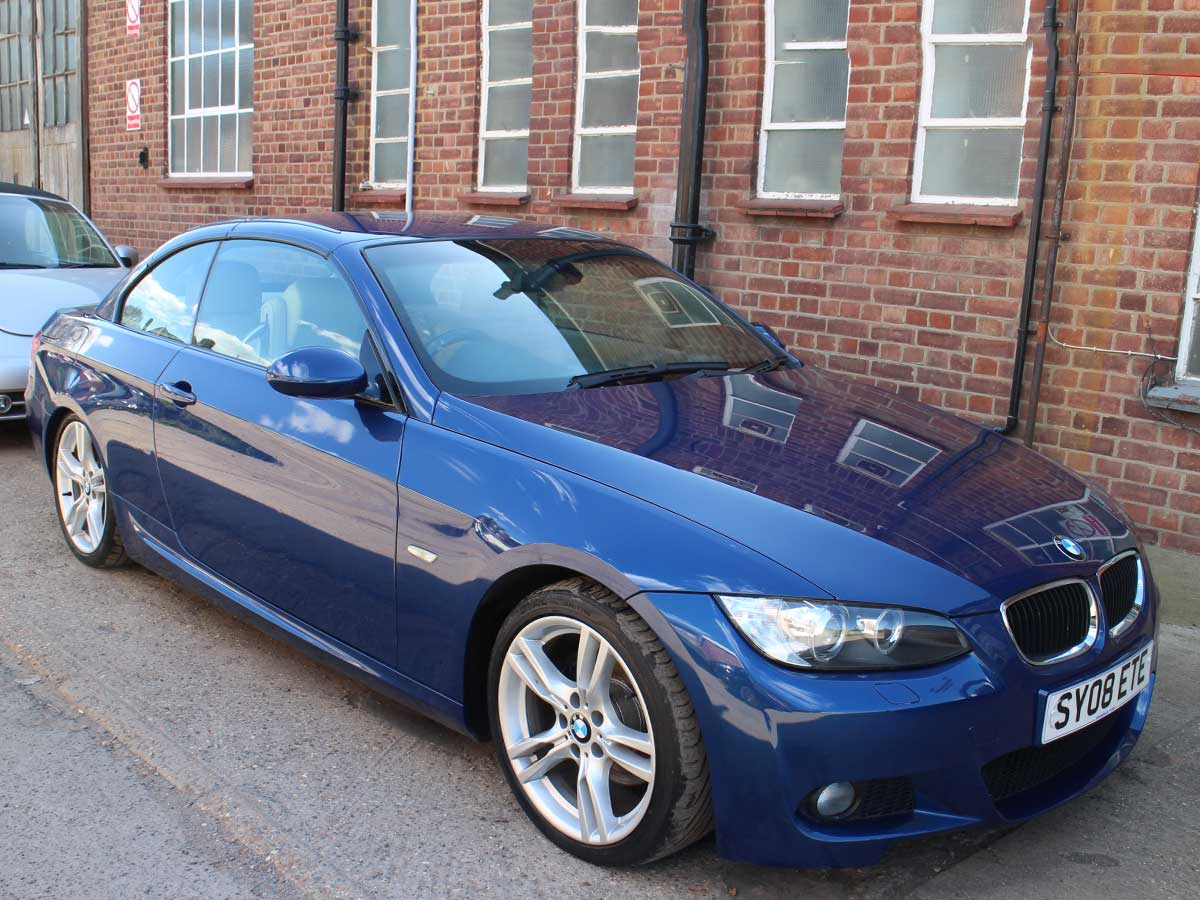 2008 BMW 320I 2.0 M Sport Convertible Manual Petrol Titan LeMans Blue with Dakota Ivory Leather 72,000 FSH SY08ETE