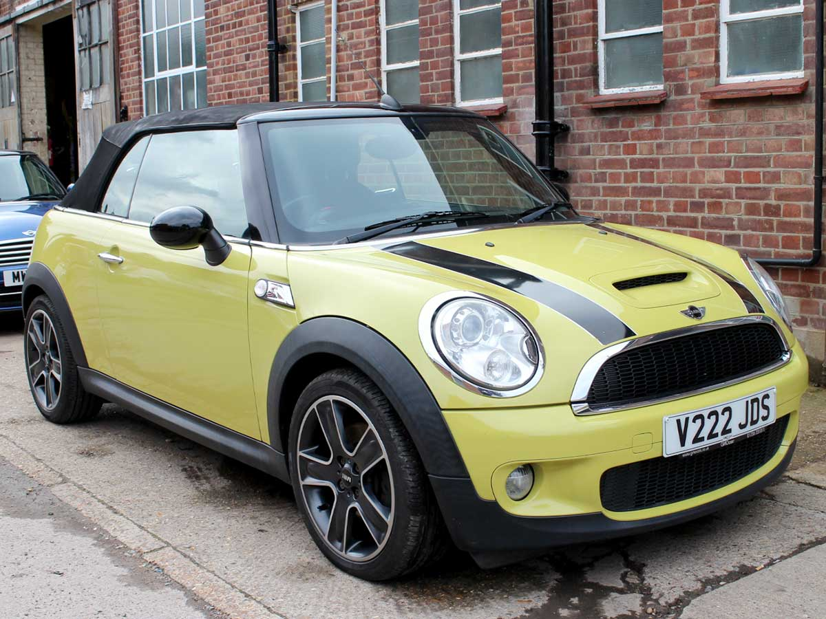 2009 Mini Cooper S Convertible Yellow with Black Hood Half Black Leather 17 inch Alloys Good Spec 72,000 miles V222JDS